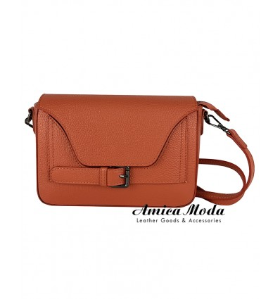 Crossbody genuine leather bag with flap, decorative buckle, magnetic and zip closures