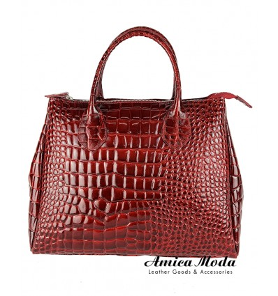 Shiny crocodile print genuine leather tote bag with double handle and zip closure