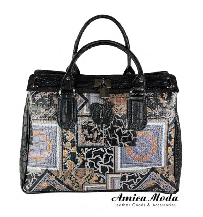 Black faux crocodile leather tote bag with decorative coloured print