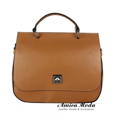 Genuine leather handbag with flap and turn lock closure
