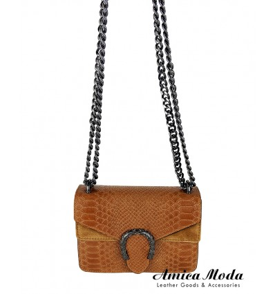 Patchwork Python print genuine leather crossbody bag with flap and golden chain shoulder strap