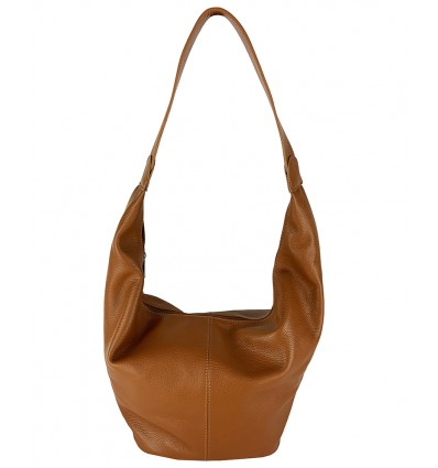 Soft dollaro leather hobo bag with zip closure