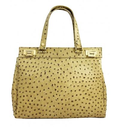 ostrich leather shoulder bag