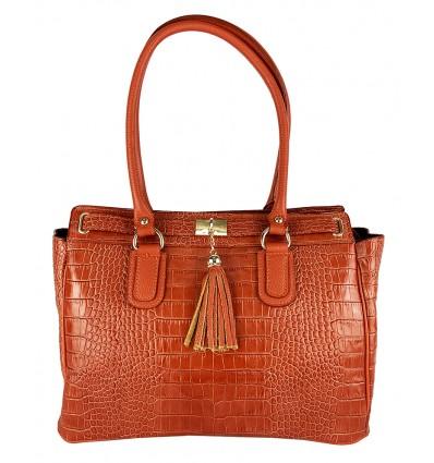 Crocodile embossed leather shoulder bag