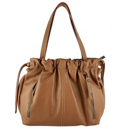 Grained calfskin leather shoulder bag