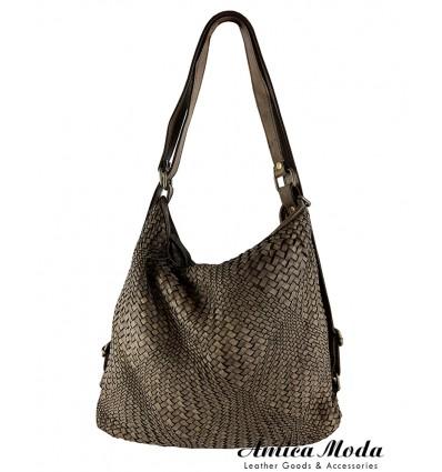 Vintage woven washed effect leather shoulder bag/backpack