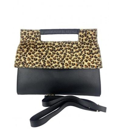 Leather handbag with pony hair flap BPL9932