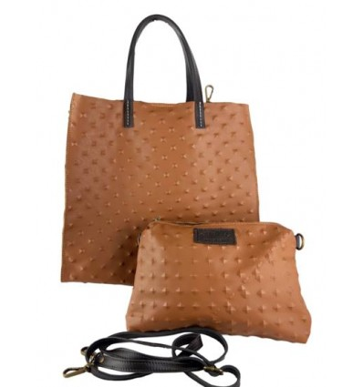 Soft leather tote bag with engraved studs BPL9923