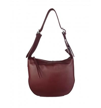Hammered leather shoulder bag with zip on sight BPL3619