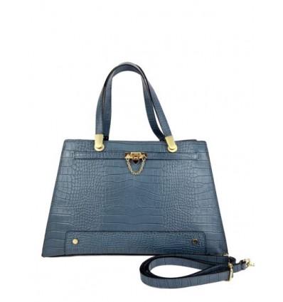 Croc leather hand bag with golden metal details BPL3624