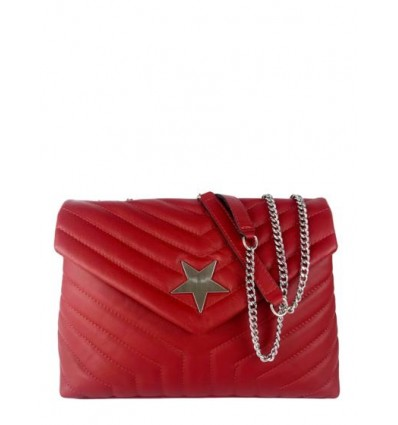 Quilted leather shoulder bag with star BPL3626