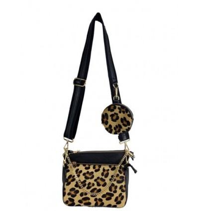 Pony hair leather and multi pochette crossbody bag BPL3628